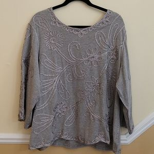 Carole Little Woman Grey Top with Silver Embellish